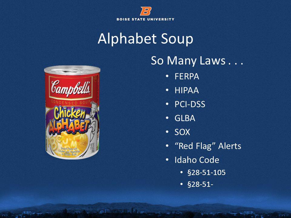 © 2012 Boise State University5 Alphabet Soup So Many Laws...