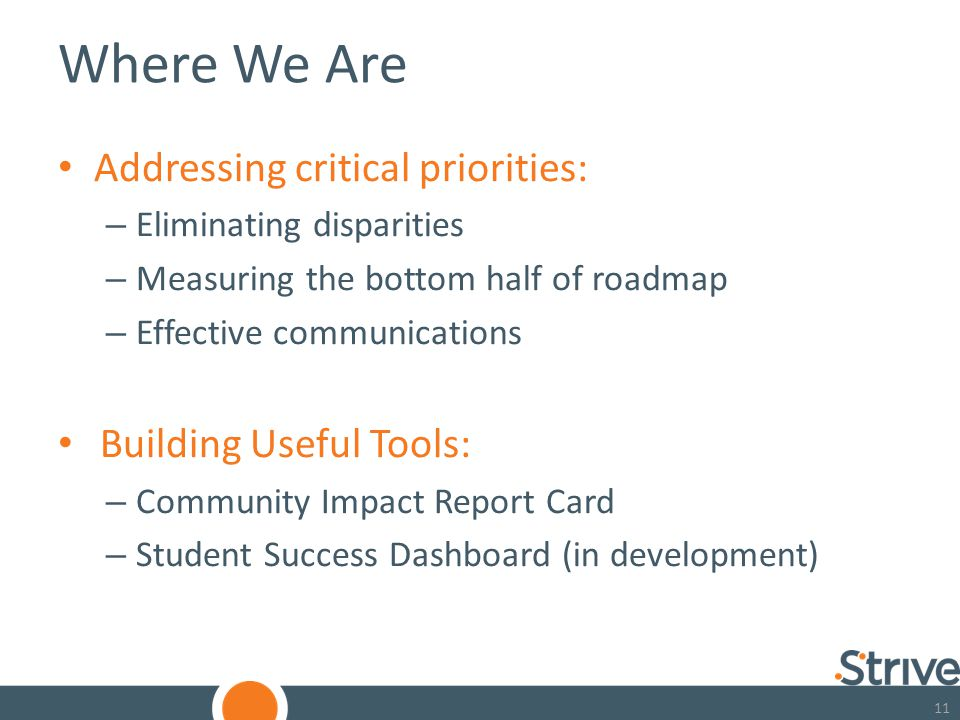 11 Where We Are Addressing critical priorities: – Eliminating disparities – Measuring the bottom half of roadmap – Effective communications Building Useful Tools: – Community Impact Report Card – Student Success Dashboard (in development)