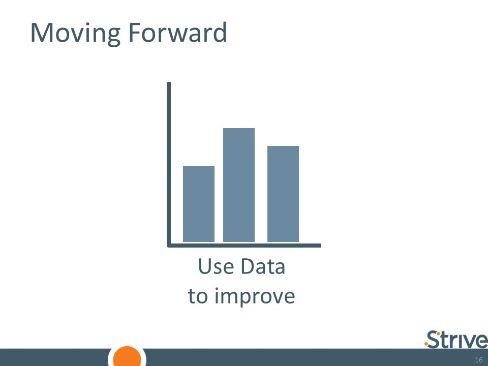16 Moving Forward Use Data to improve