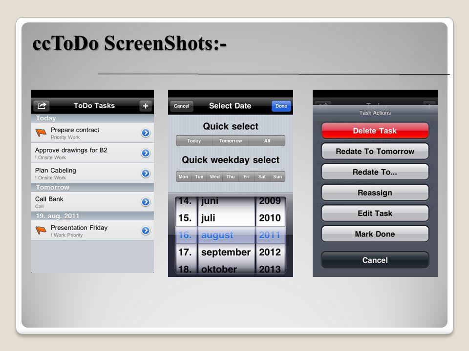 ccToDo ScreenShots:-