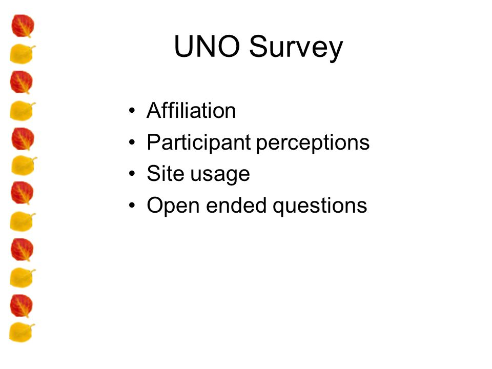 UNO Survey Affiliation Participant perceptions Site usage Open ended questions