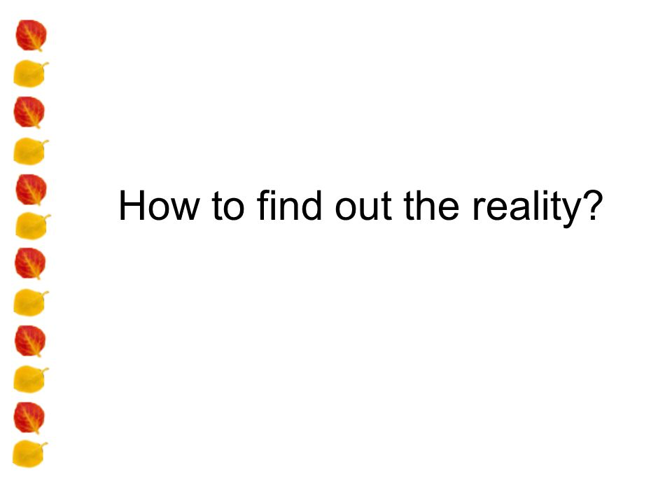 How to find out the reality?