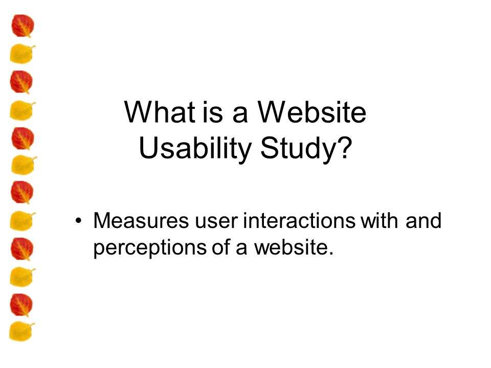 What is a Website Usability Study Measures user interactions with and perceptions of a website.