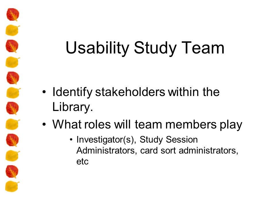 Usability Study Team Identify stakeholders within the Library.