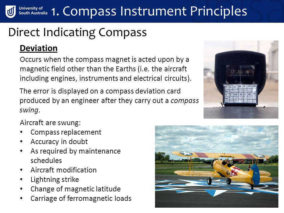 Occurs when the compass magnet is acted upon by a magnetic field other than the Earths (i.e. the aircraft including engines, instruments and electrica