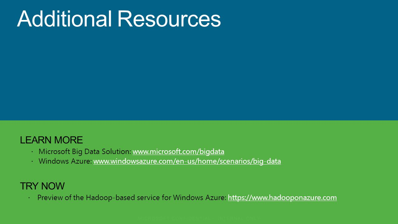LEARN MORE Microsoft Big Data Solution: www.microsoft.com/bigdatawww.microsoft.com/bigdata Windows Azure: www.windowsazure.com/en-us/home/scenarios/big-datawww.windowsazure.com/en-us/home/scenarios/big-data TRY NOW Preview of the Hadoop-based service for Windows Azure: https://www.hadooponazure.comhttps://www.hadooponazure.com