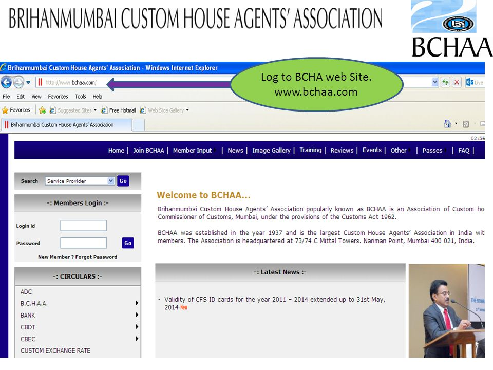 2 Log to BCHA web Site. www.bchaa.com