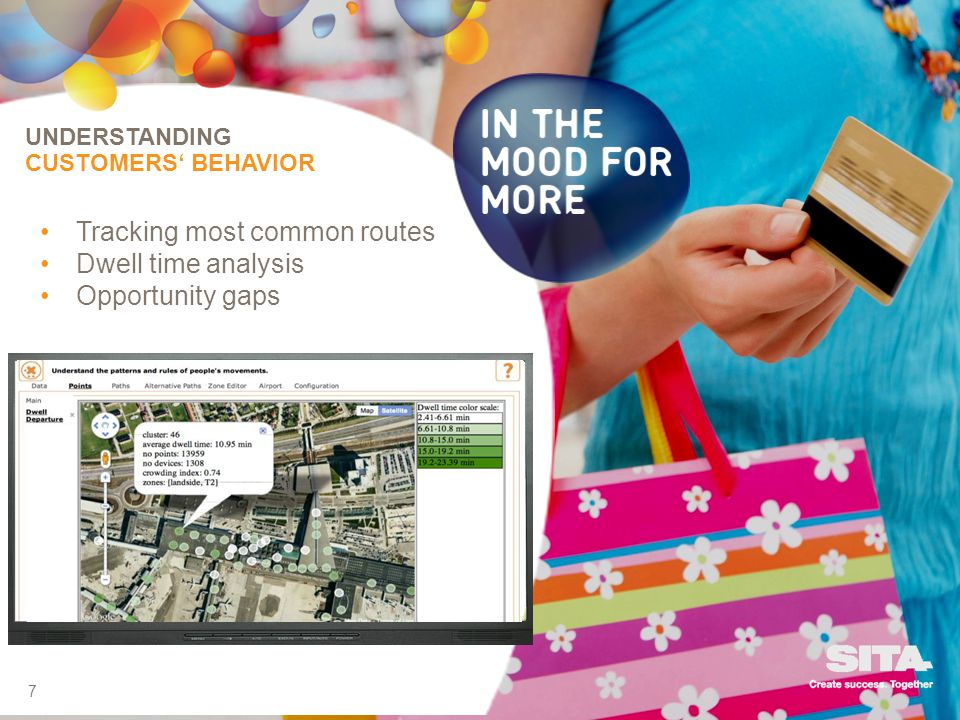 7 UNDERSTANDING CUSTOMERS BEHAVIOR Tracking most common routes Dwell time analysis Opportunity gaps