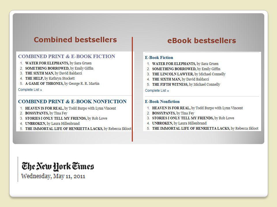 eBook bestsellers Combined bestsellers