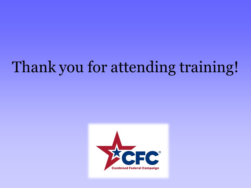 Thank you for attending training!