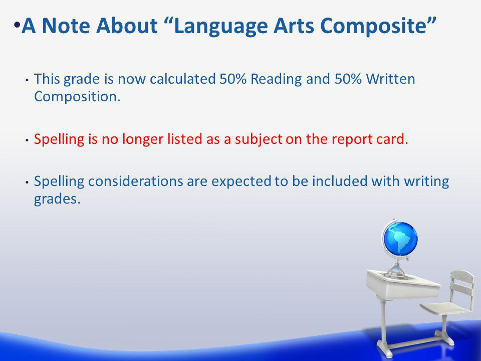 This grade is now calculated 50% Reading and 50% Written Composition.