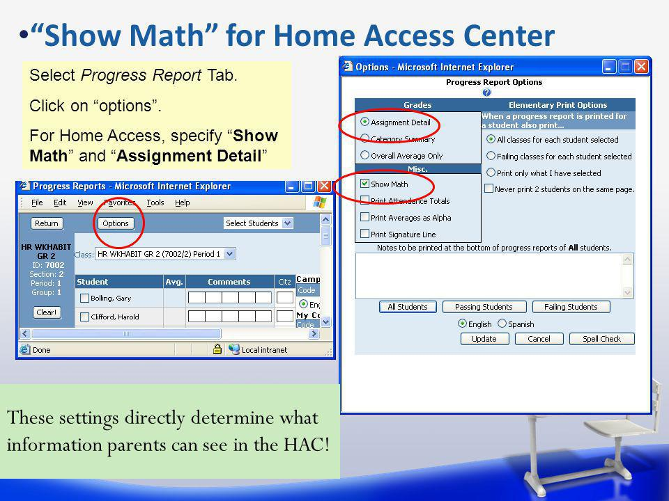 Show Math for Home Access Center Select Progress Report Tab.