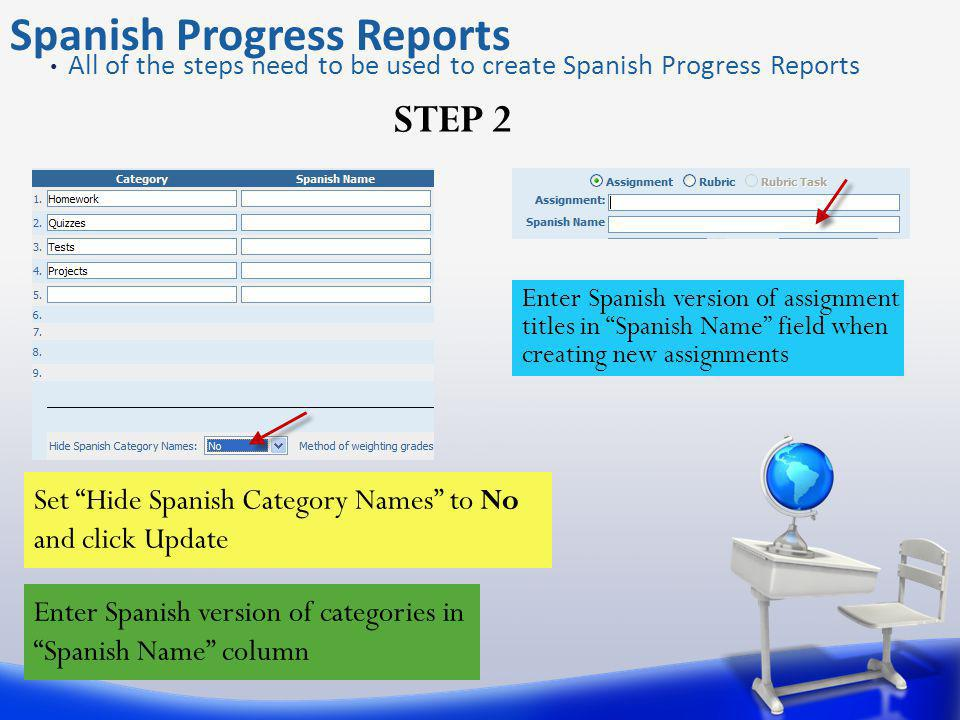 Spanish Progress Reports STEP 2 All of the steps need to be used to create Spanish Progress Reports Set Hide Spanish Category Names to No and click Update Enter Spanish version of categories in Spanish Name column Enter Spanish version of assignment titles in Spanish Name field when creating new assignments