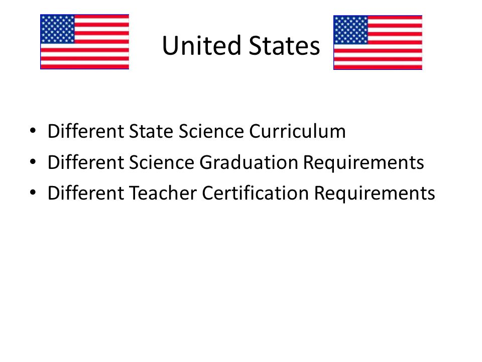 Different State Science Curriculum Different Science Graduation Requirements Different Teacher Certification Requirements
