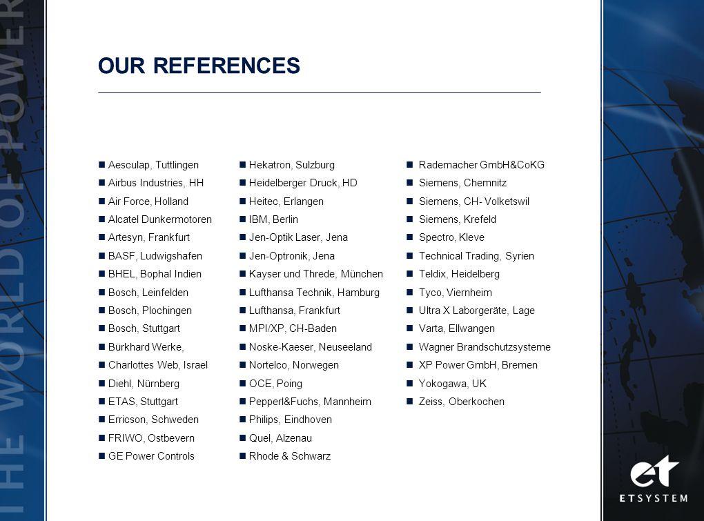 OUR REFERENCES Aesculap, Tuttlingen Airbus Industries, HH Air Force, Holland Alcatel Dunkermotoren Artesyn, Frankfurt BASF, Ludwigshafen BHEL, Bophal Indien Bosch, Leinfelden Bosch, Plochingen Bosch, Stuttgart Bürkhard Werke, Charlottes Web, Israel Diehl, Nürnberg ETAS, Stuttgart Erricson, Schweden FRIWO, Ostbevern GE Power Controls Hekatron, Sulzburg Heidelberger Druck, HD Heitec, Erlangen IBM, Berlin Jen-Optik Laser, Jena Jen-Optronik, Jena Kayser und Threde, München Lufthansa Technik, Hamburg Lufthansa, Frankfurt MPI/XP, CH-Baden Noske-Kaeser, Neuseeland Nortelco, Norwegen OCE, Poing Pepperl&Fuchs, Mannheim Philips, Eindhoven Quel, Alzenau Rhode & Schwarz Rademacher GmbH&CoKG Siemens, Chemnitz Siemens, CH- Volketswil Siemens, Krefeld Spectro, Kleve Technical Trading, Syrien Teldix, Heidelberg Tyco, Viernheim Ultra X Laborgeräte, Lage Varta, Ellwangen Wagner Brandschutzsysteme XP Power GmbH, Bremen Yokogawa, UK Zeiss, Oberkochen