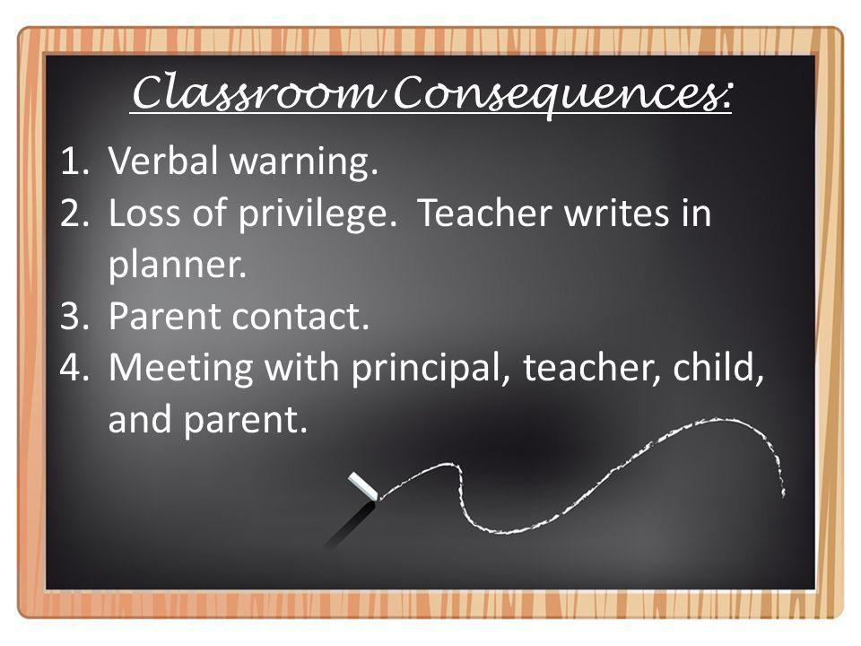Classroom Consequences: 1.Verbal warning. 2.Loss of privilege.