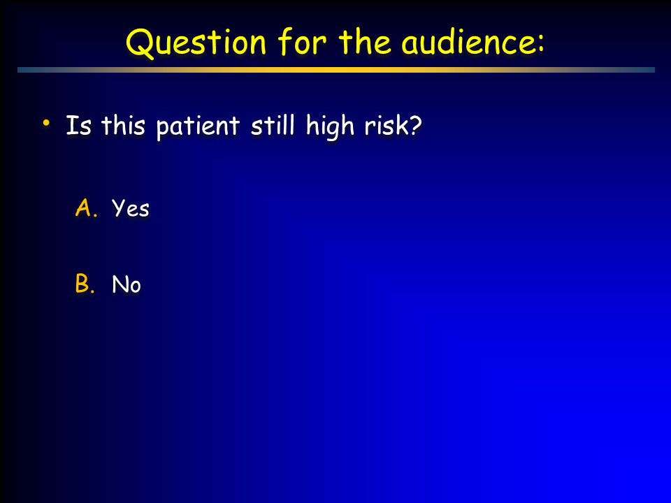 Question for the audience: Is this patient still high risk? A. Yes B. No Is this patient still high risk? A. Yes B. No