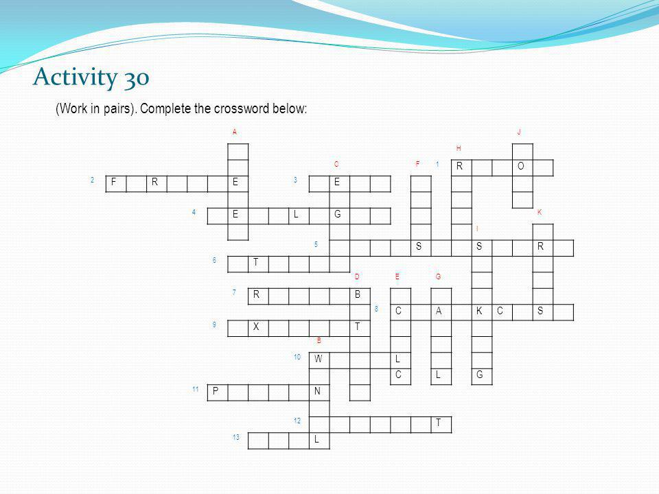 Activity 30 (Work in pairs). Complete the crossword below: AJ H CF1 RO 2 FRE 3 E 4 ELG K I 5 SSR 6 T DEG 7 RB 8 CAKCS 9 XT B 10 WL CLG 11 PN 12 T 13 L