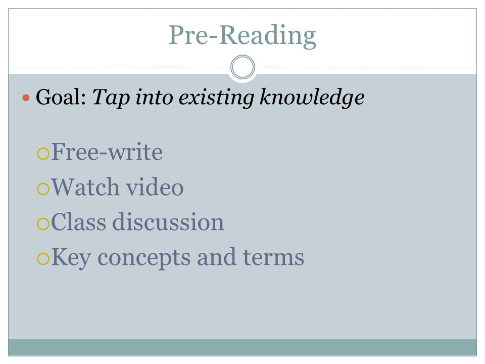 Pre-Reading Goal: Tap into existing knowledge Free-write Watch video Class discussion Key concepts and terms