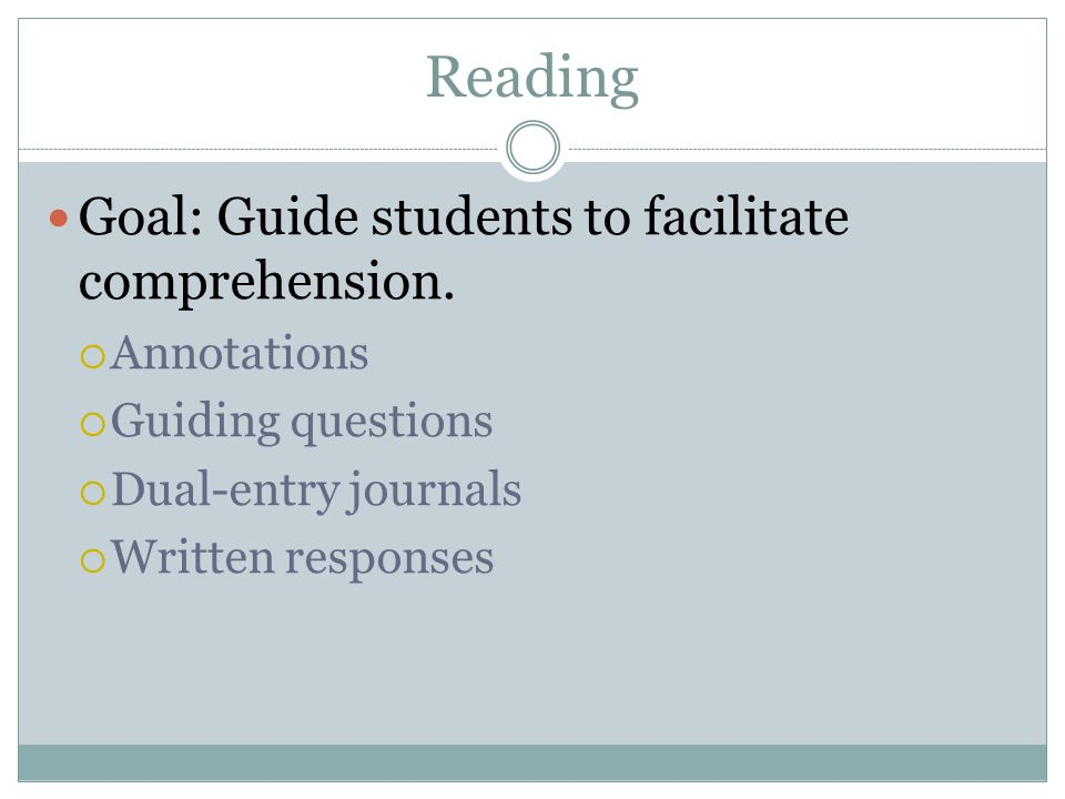 Reading Goal: Guide students to facilitate comprehension. Annotations Guiding questions Dual-entry journals Written responses
