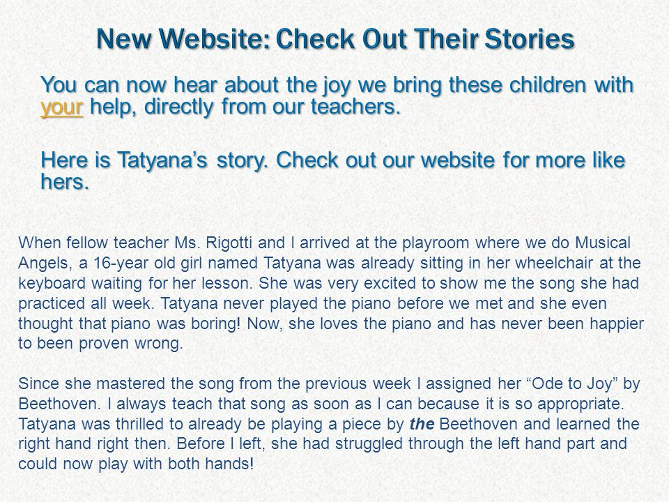 You can now hear about the joy we bring these children with your help, directly from our teachers.