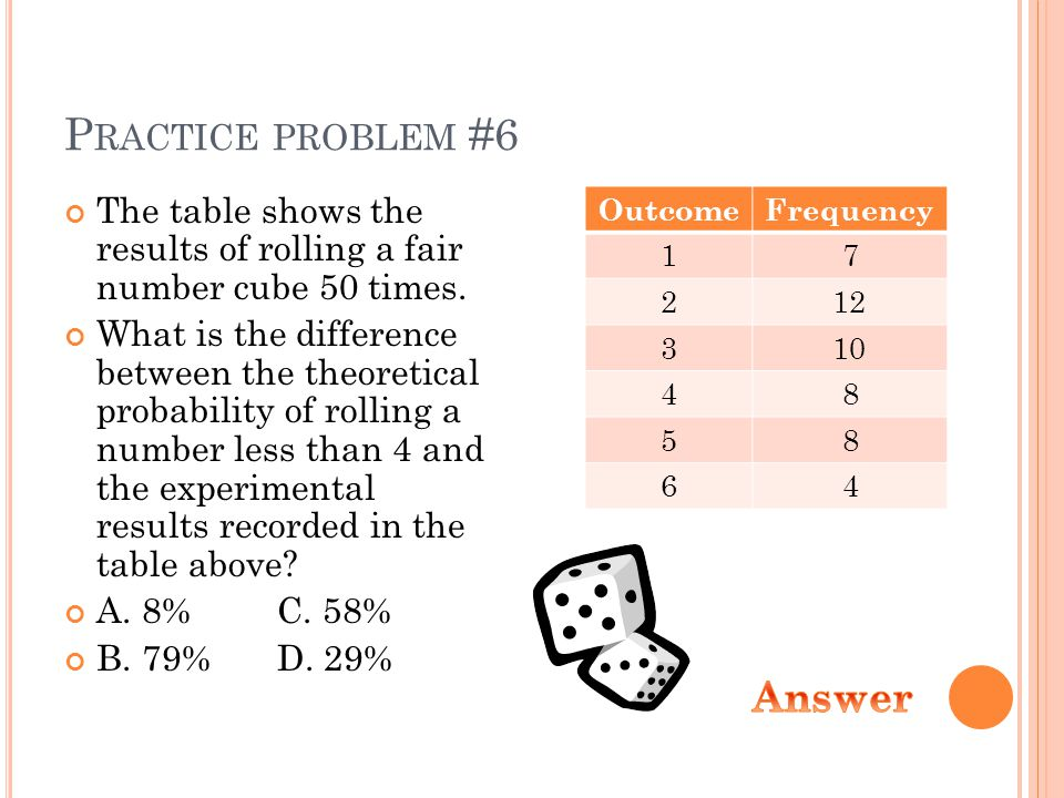 P RACTICE PROBLEM #6 The table shows the results of rolling a fair number cube 50 times. What is the difference between the theoretical probability of
