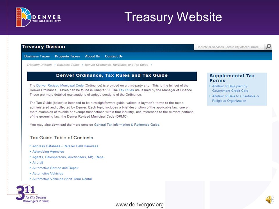 Treasury Website www.denvergov.org