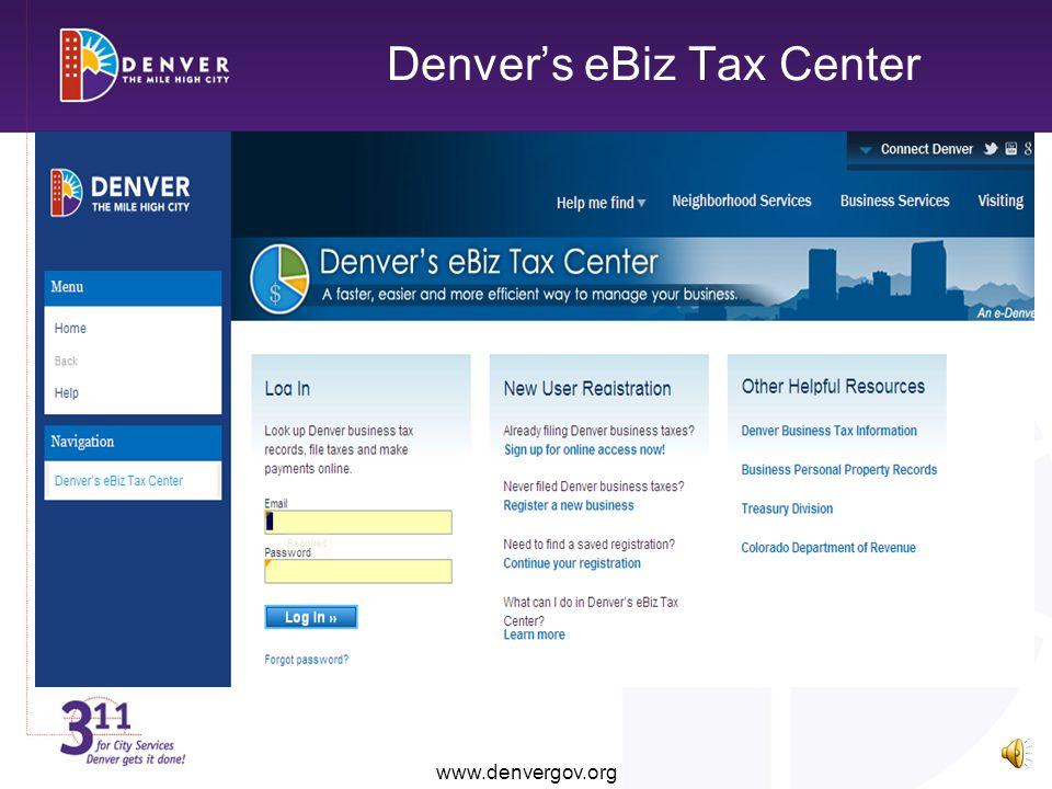 Denvers eBiz Tax Center www.denvergov.org