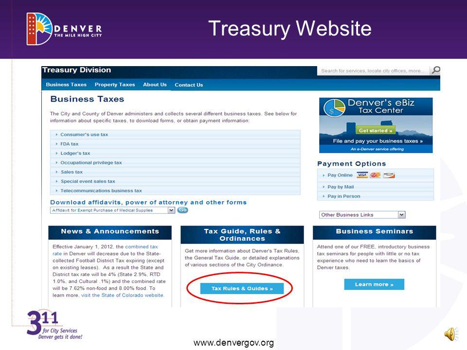 Treasury Website www.denvergov.org