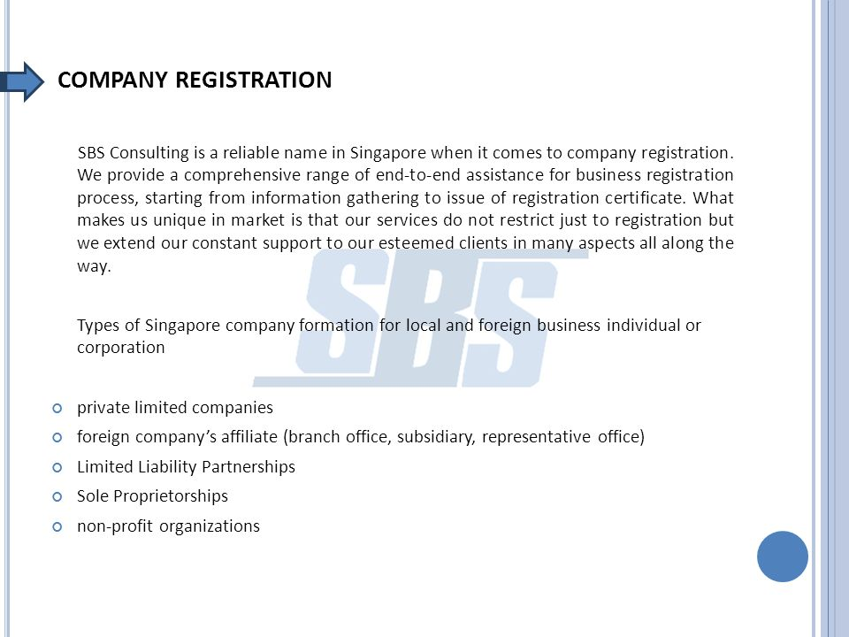 COMPANY REGISTRATION SBS Consulting is a reliable name in Singapore when it comes to company registration.