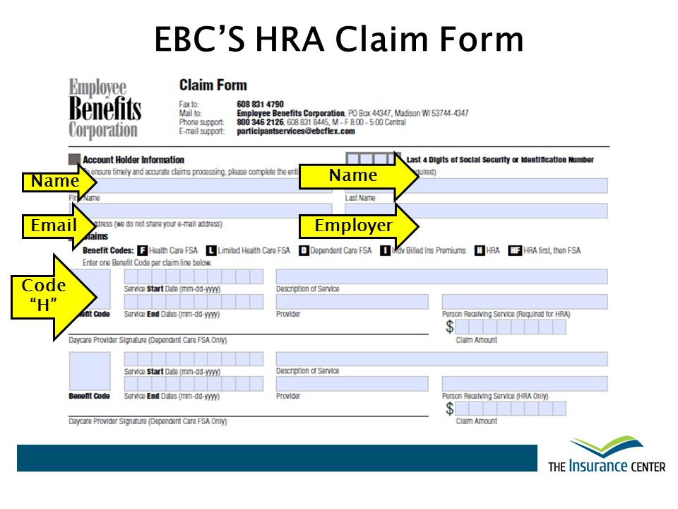 EBCS HRA Claim Form Name EmailEmployer Name Code H