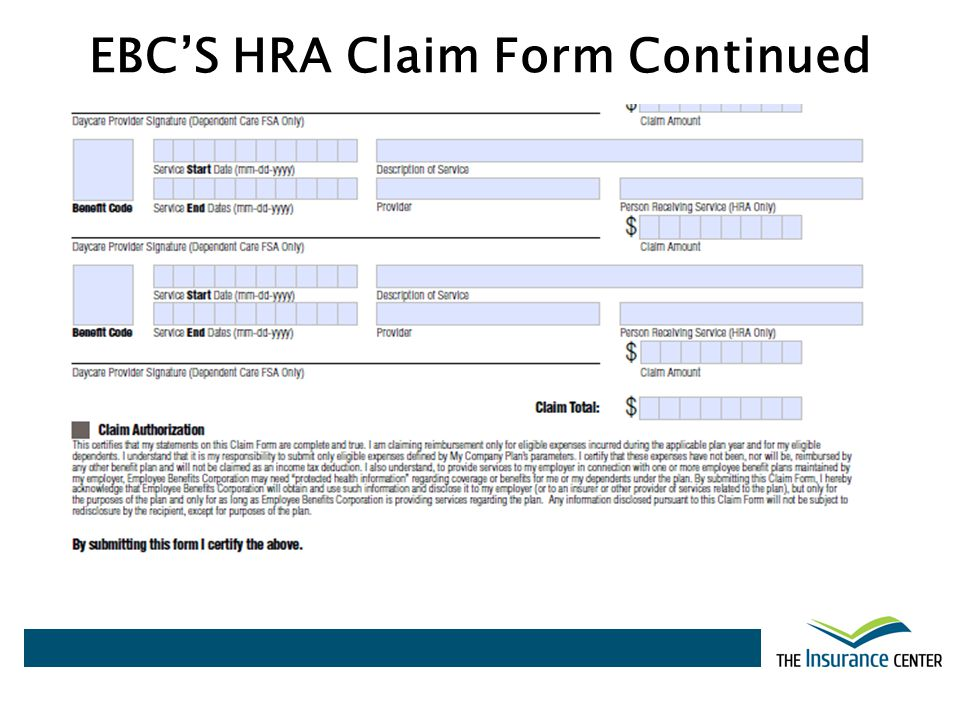 EBCS HRA Claim Form Continued