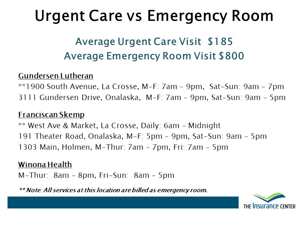 Urgent Care vs Emergency Room Average Urgent Care Visit $185 Average Emergency Room Visit $800 Gundersen Lutheran **1900 South Avenue, La Crosse, M-F: 7am – 9pm, Sat-Sun: 9am – 7pm 3111 Gundersen Drive, Onalaska, M-F: 7am – 9pm, Sat-Sun: 9am – 5pm Franciscan Skemp ** West Ave & Market, La Crosse, Daily: 6am – Midnight 191 Theater Road, Onalaska, M-F: 5pm – 9pm, Sat-Sun: 9am – 5pm 1303 Main, Holmen, M-Thur: 7am – 7pm, Fri: 7am – 5pm Winona Health M-Thur: 8am – 8pm, Fri-Sun: 8am – 5pm ** Note: All services at this location are billed as emergency room.