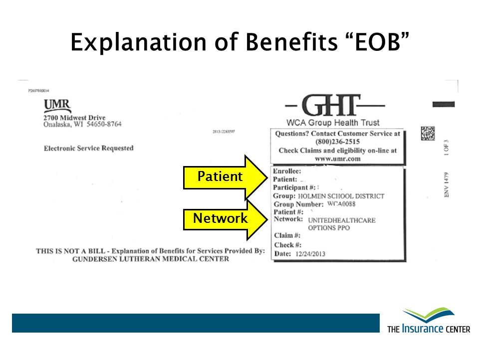 Explanation of Benefits EOB Patient Network