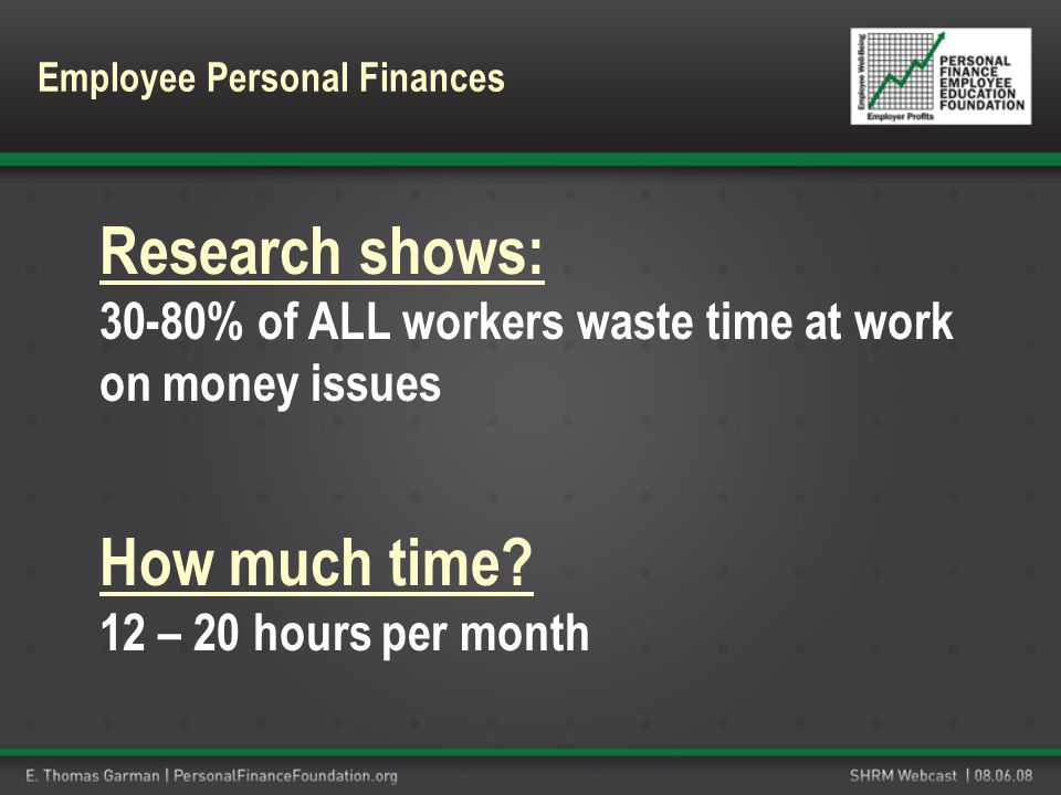 Research shows: 30-80% of ALL workers waste time at work on money issues How much time? 12 – 20 hours per month Employee Personal Finances