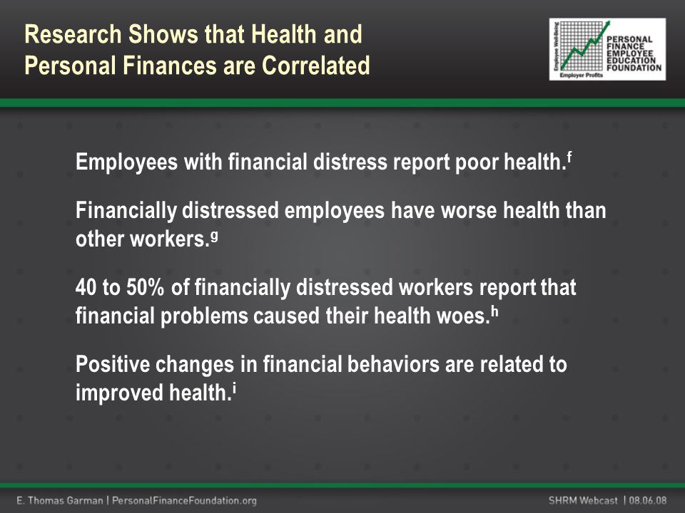 Employees with financial distress report poor health. f Financially distressed employees have worse health than other workers. g 40 to 50% of financia