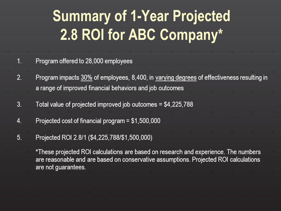Summary of 1-Year Projected 2.8 ROI for ABC Company* 1.Program offered to 28,000 employees 2.Program impacts 30% of employees, 8,400, in varying degre