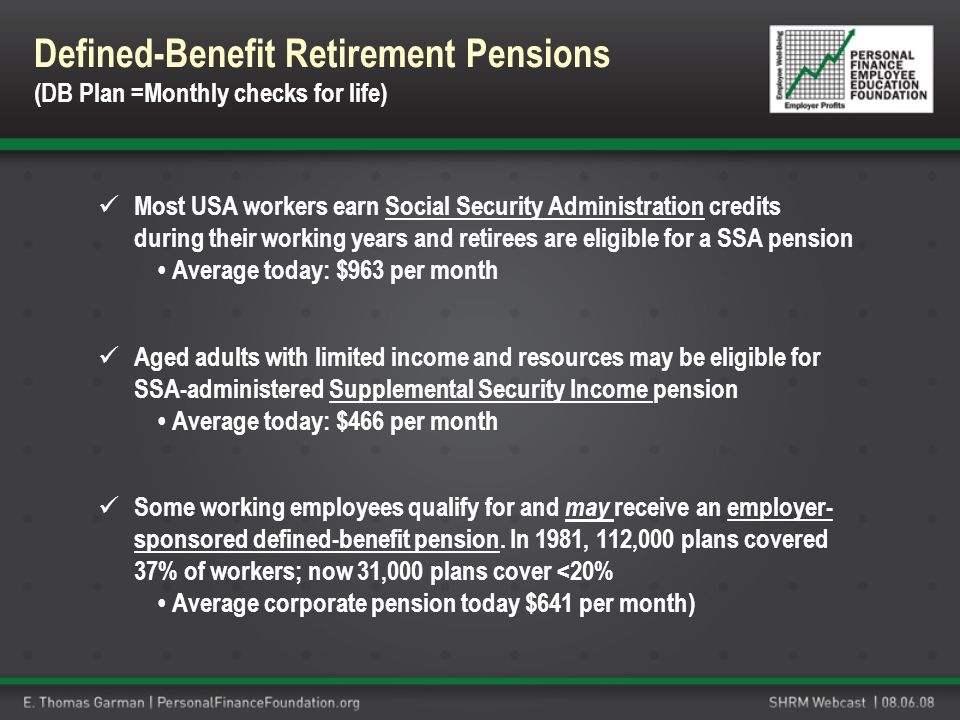 Most USA workers earn Social Security Administration credits during their working years and retirees are eligible for a SSA pension Average today: $96