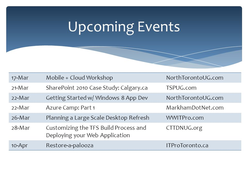 17-MarMobile + Cloud WorkshopNorthTorontoUG.com 21-MarSharePoint 2010 Case Study: Calgary.caTSPUG.com 22-MarGetting Started w/ Windows 8 App DevNorthTorontoUG.com 22-MarAzure Camp: Part 1MarkhamDotNet.com 26-MarPlanning a Large Scale Desktop RefreshWWITPro.com 28-MarCustomizing the TFS Build Process and Deploying your Web Application CTTDNUG.org 10-AprRestore-a-paloozaITProToronto.ca