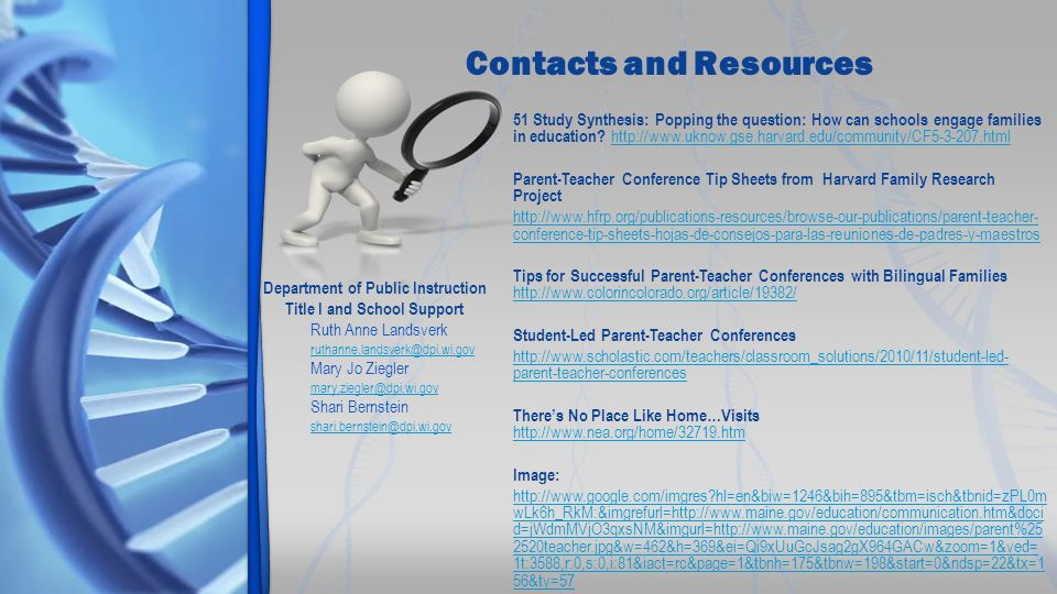 Contacts and Resources 51 Study Synthesis: Popping the question: How can schools engage families in education.