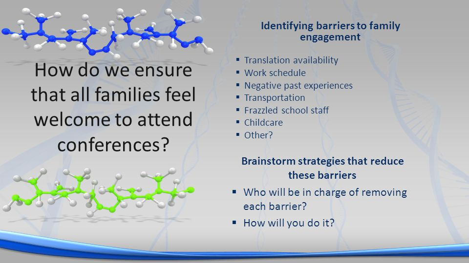 Identifying barriers to family engagement Translation availability Work schedule Negative past experiences Transportation Frazzled school staff Childcare Other.