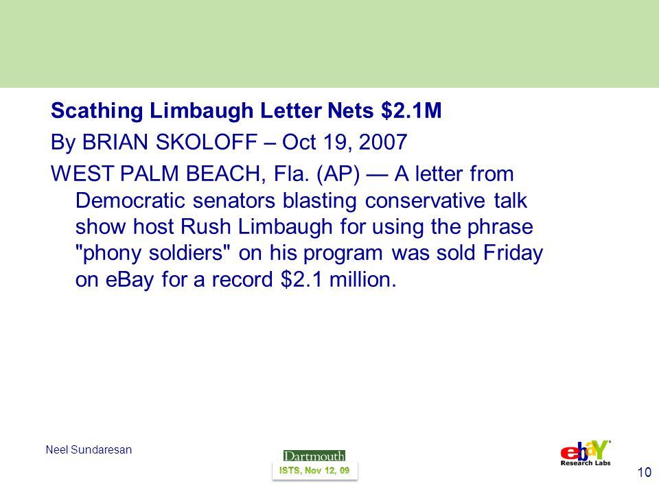 10 Neel Sundaresan Scathing Limbaugh Letter Nets $2.1M By BRIAN SKOLOFF – Oct 19, 2007 WEST PALM BEACH, Fla.