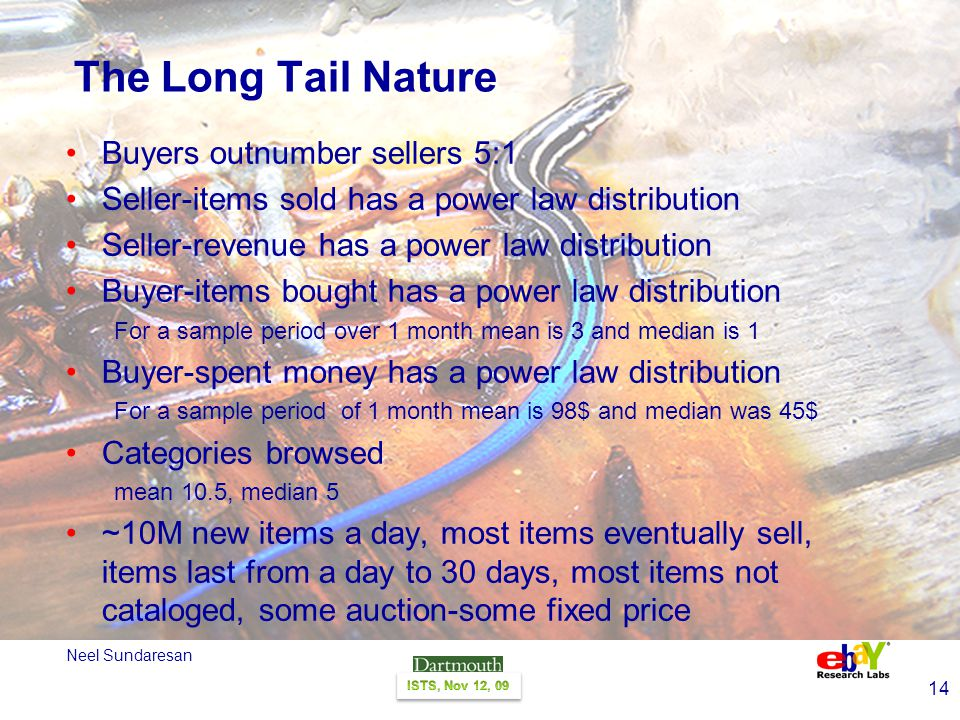 14 Neel Sundaresan The Long Tail Nature Buyers outnumber sellers 5:1 Seller-items sold has a power law distribution Seller-revenue has a power law distribution Buyer-items bought has a power law distribution For a sample period over 1 month mean is 3 and median is 1 Buyer-spent money has a power law distribution For a sample period of 1 month mean is 98$ and median was 45$ Categories browsed mean 10.5, median 5 ~10M new items a day, most items eventually sell, items last from a day to 30 days, most items not cataloged, some auction-some fixed price
