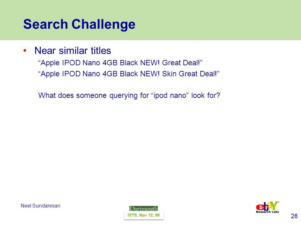 26 Neel Sundaresan Search Challenge Near similar titles Apple IPOD Nano 4GB Black NEW.