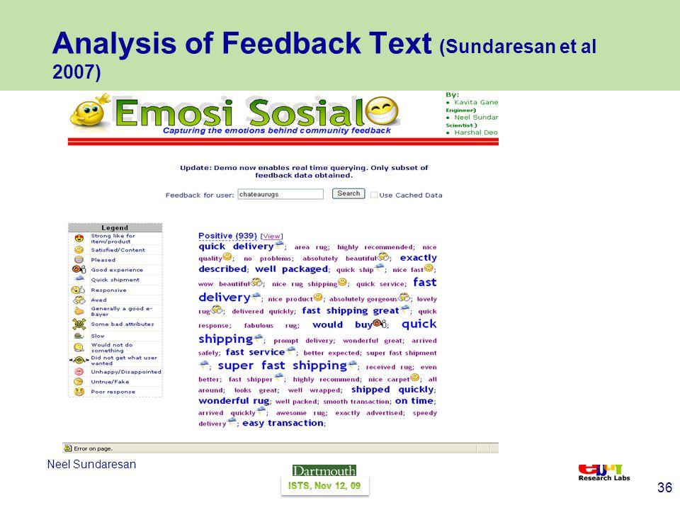 36 Neel Sundaresan Analysis of Feedback Text (Sundaresan et al 2007)