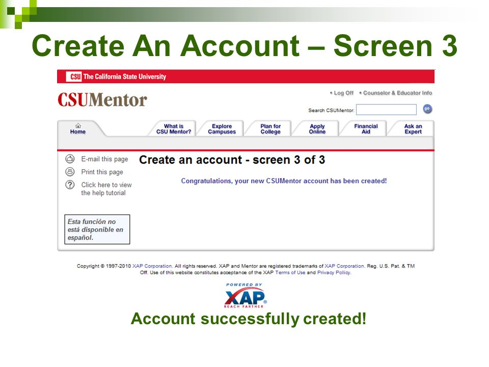 Create An Account – Screen 3 Account successfully created!