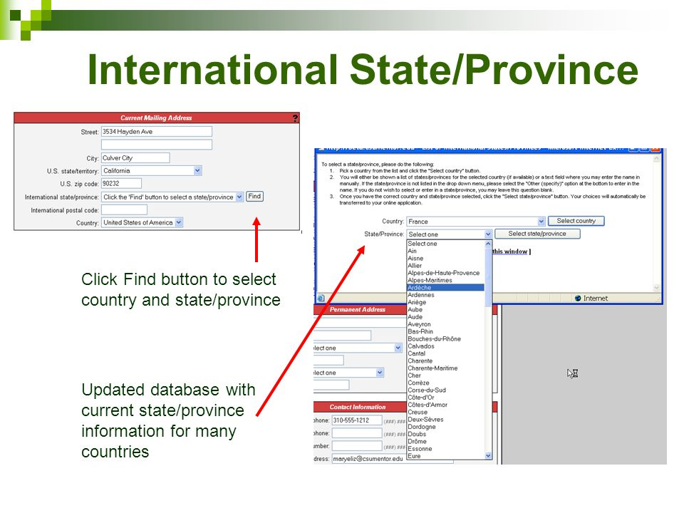 International State/Province Click Find button to select country and state/province Updated database with current state/province information for many countries