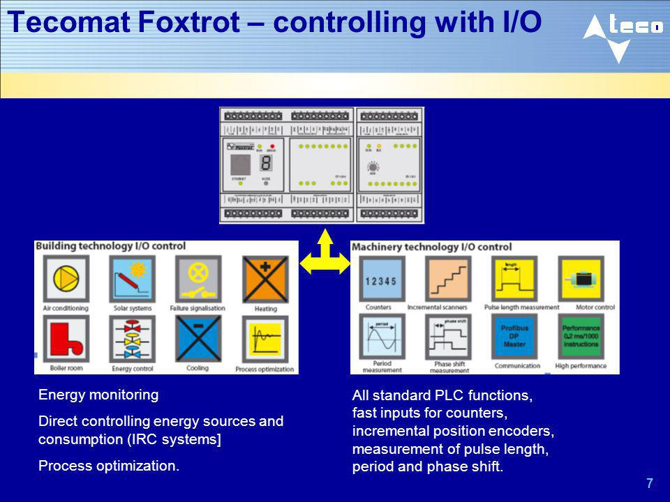 7 Tecomat Foxtrot – controlling with I/O Energy monitoring Direct controlling energy sources and consumption (IRC systems] Process optimization. All s