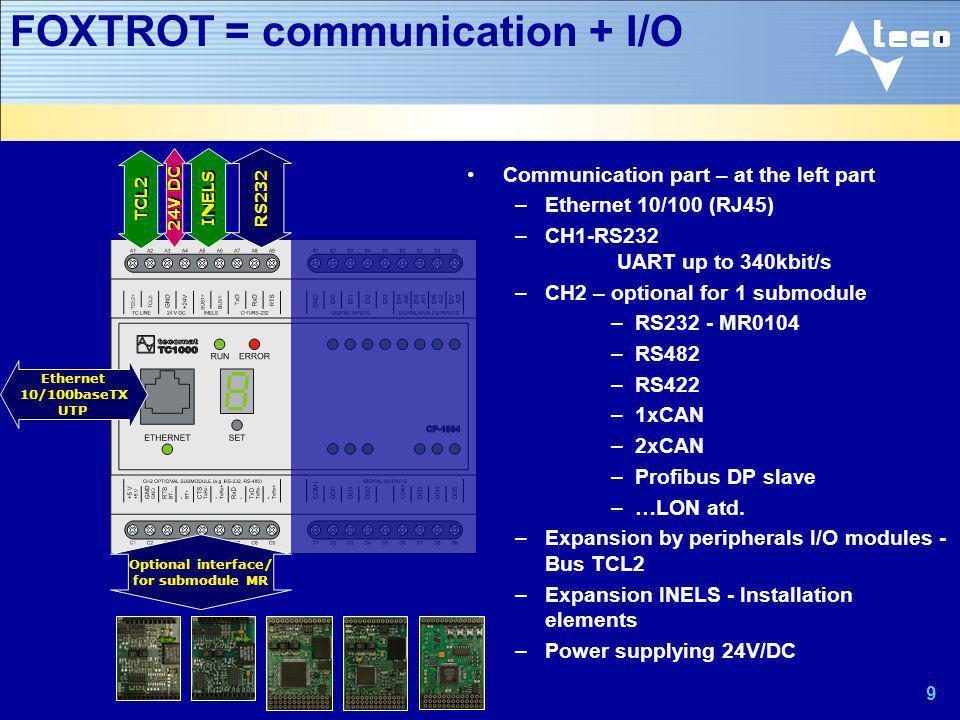 10 FOXTROT = communication + I/O CP-1004 Basic I/O – at the right –INPUTS - basic functions 8x DI 24V DC (DI0-DI7) –INPUTS - alternative functions DI4-DI7 = analog AI0-AI3 –0-10V –10bit, –bez GO DI0-DI3 = special functions FI0-FI3 –Fast counter, –Incremental sensor –OUTPUTS 6x DO/RO, –Switching /NO/ contact relay –230V AC/3A Optical indication DI0……………..….DI7 AI0…AI3FI0..FI3 RO0………………RO5