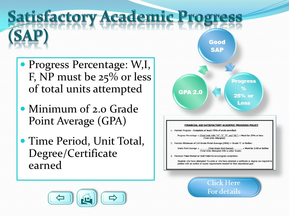 Progress Percentage: W,I, F, NP must be 25% or less of total units attempted Minimum of 2.0 Grade Point Average (GPA) Time Period, Unit Total, Degree/